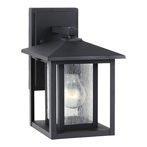 025-12 Hunnington One-Light Outdoor Wall Lantern with Clear Seeded Glass Panels, Black Finish (Aluminum Medium Exterior Wall Mount)