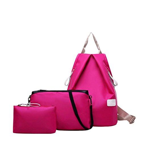3 Piezas Monedero Conjunto Lindo Viaje Impermeable Oxford Tela Mochila Bolso Monedero Para Mujeres y Estudiantes Niñas By VENMO rosa caliente