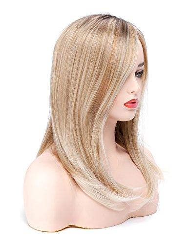 Morvally Glamour Blonde Ombre Long Straight Wigs Classic L Part Heat Resistant Synthetic Hair for White Women -