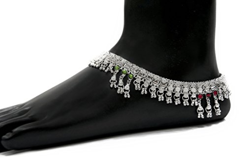 Indian anklet jewelry, ankle jewelry, plated silver anklet, foot chain, hippie anklet faux diamond anklet