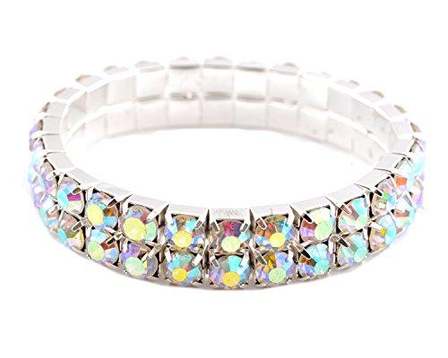 Topwholesalejewel Silver Aurora Borealis Circle 2 Row Elastic Bracelet