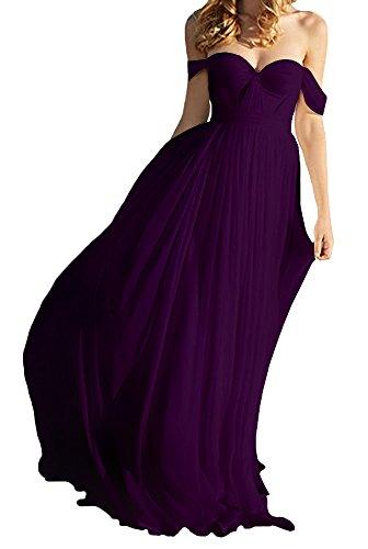 Amore Bridal Elegant Empire Off Shoulder Long Chiffon Bridesmaid Beach Wedding Dress Grape, (Empire Chiffon)