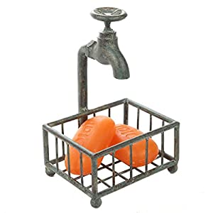 Lily's Home Vintage Rustic Bar Soap or Kitchen Sponge Holder, Basket Style with Country Design Crafted from an Old Spigot and is Ideal for Any Whimsical Décor Style, Green Patina