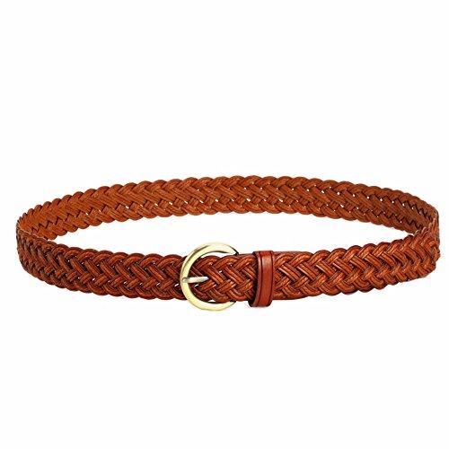 Women Braided Belts Faux Leather Woven Belt For Girls Fashion Waist Buckle Belt (Ladies Braided Belt)