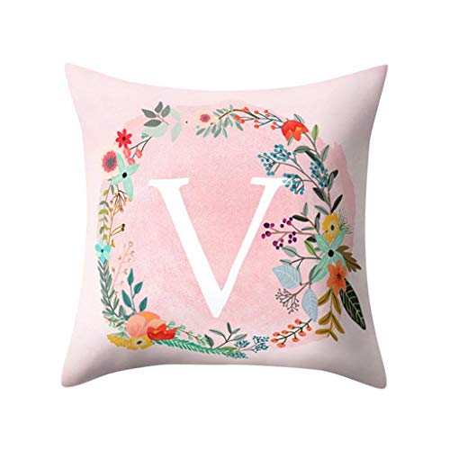 - Fulijie Pillow Covers Decorative Pink Throw Pillow Cases with English Alphabet Pattern (Q-Z) 18 x 18 Inch for Home Decor