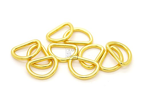 CRAFTMEmore 3/8 or 1/2 Inch Tiny D-Ring Findings Metal Welded D Rings for Zip Connector Puller Landyard Purse Making Pack of 50 (Gold, 1/2 Inch)