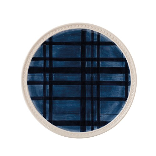 - Bristol Collection, Indigo Tartan Salad Plate, Royal Blue/White