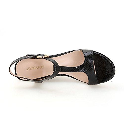 Tacones de cuero de verano/Sandalias de cuña Negro