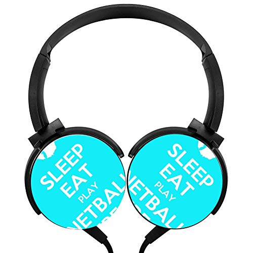 Netball System - Eat Sleep Play Netball Repeat Stereo Headphone Wired Portable Headset Black Earphone Earpiece With Mic