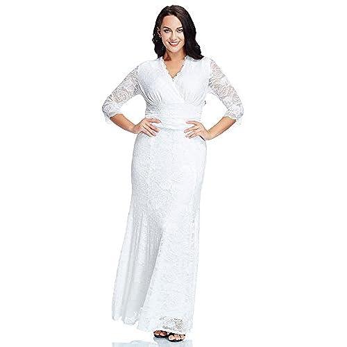 LookbookStore Womens Plus Size White Floral Lace 3 4 Sleeve Wedding Maxi Dress 20W