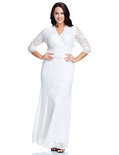 LookbookStore Women\'s Plus Size White Floral Lace 3/4 Sleeve Wedding ...