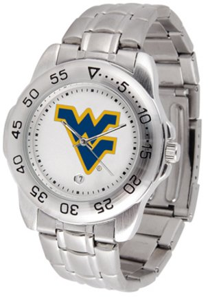 SunTime West Virginia Mountaineers Sport Steel Band Men's Watch
