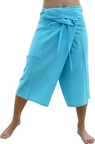 Raan Pah Muang Brand Plain Muang Cotton Thai Fisherman Capri Wrap Pants, Small, Light Blue (Cotton Thai Craft)