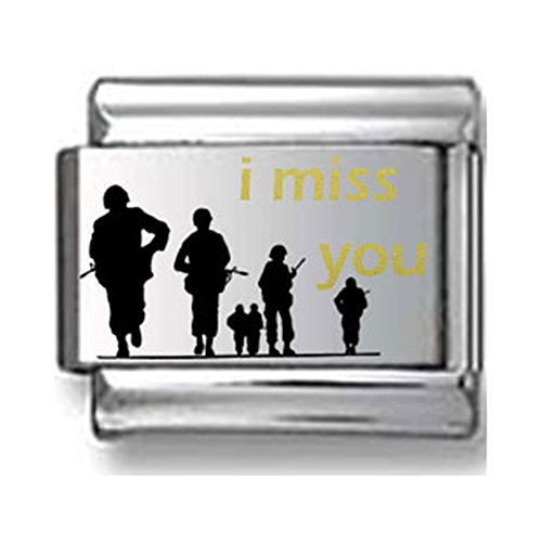 Army Italian Charm - Gold and Black I Miss You Army Laser Italian Charm