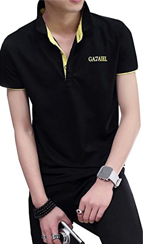 PuHao (プハオ) メンズ Tシャツ ポロシャツ ワイシャツ 夏着 パーカー 半袖 無地 襟付き シンプル poloシャツ スリム 着痩せ かっこいい トップス カジュアル おしゃれ ゴルフウェア (ブラック11, M)