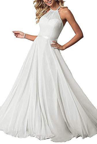 Bridesmaid Dresses Long Halter Chiffon Aline Prom Party Gown 2019 Formal Women White 12 ()