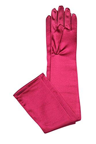 Long Red Nylon Gloves (Elegant Stretch Satin Long Fabric Gloves - Opera/Full Length - Size: 19.5
