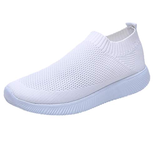 Womens Casual Walking Shoes Mesh Breathable Comfort Slip On Running Jogging Gym Sports Sneakers Summer Spring Shoes White