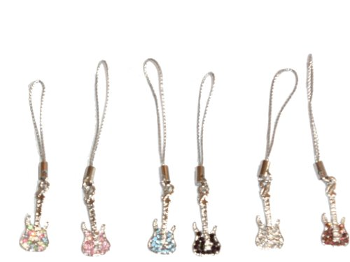 - Cell Phone Charms ~ Guitar Cell Phone Charm Set of 6 (13047 UR)