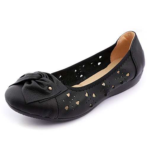 Odema Women's Leather Slip ONS Loafers Flats Moccasins Driving Shoes Casual Walking Shoes Size 6-10 by Odema