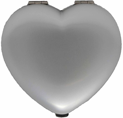 Heart Compact Mirror (Silver Heart Folding Compact Pocket Makeup Mirror Double Sided (5x magnification + 1x magnification))