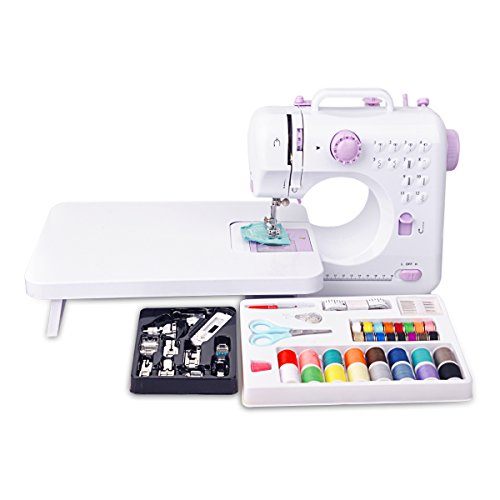 Congerate 12 Stitches Mini Electric Sewing Machine Multifunction Household Double Thread Double Speed with 11pcs Presser Foot Set And 42-in-1 Sewing Tools Kit Needlework Box Set And Extension Table by Congerate