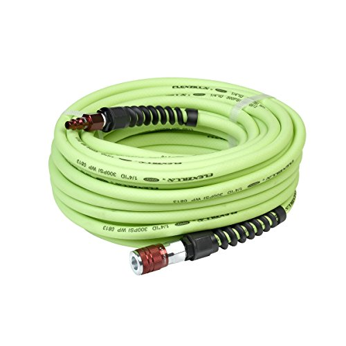 Flexzilla Pro Air Hose with ColorConnex Industrial Type D Coupler and Plug, 1/4 in. x 50 ft, Heavy Duty, Lightweight, Hybrid, ZillaGreen - HFZP1450YW2-D