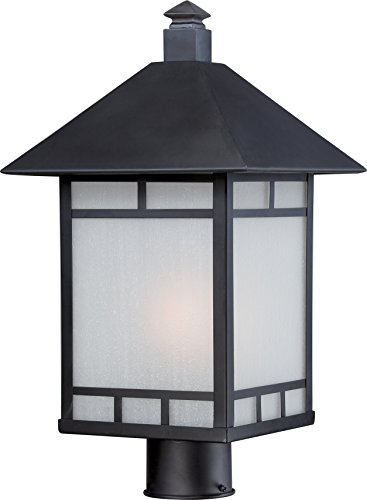 Nuvo Lighting 60/5605 Drexel Post One Light 100-watt A19 Outdoor Porch and Patio Lighting with Frosted Seed Glass, Stone Black