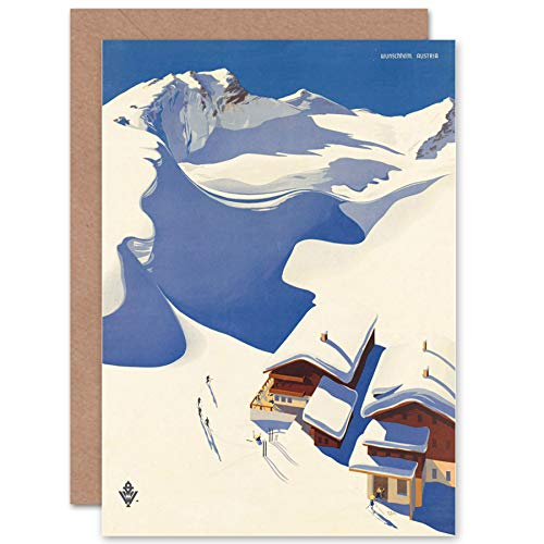 Wee Blue Coo New Travel Winter Sport Snow SKI Chalet ALPS Austria Blank Greetings Card CP1371