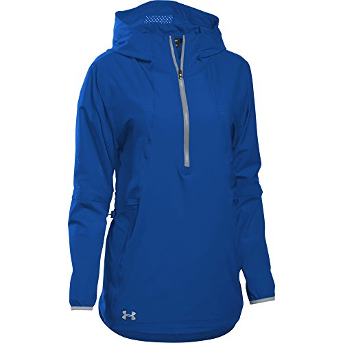 Under Armour Women's Squad Woven 1/2 Zip Jacket (Small, Royal)