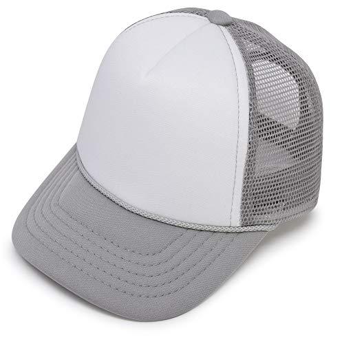 DALIX Infant Trucker Hat Baby Cap Tiny Extra Small Girls Boys in Gray White