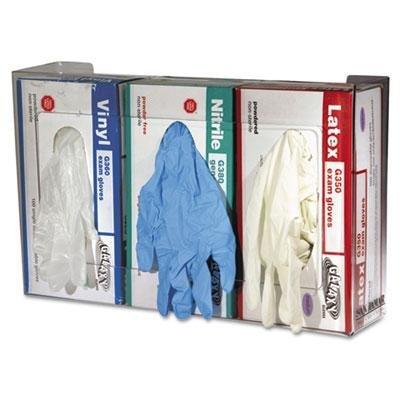 San Jamar Clear Plexiglas Disposable Glove Dispenser, Three-Box, 18W X 3 3/4D X 10H, Case of 2