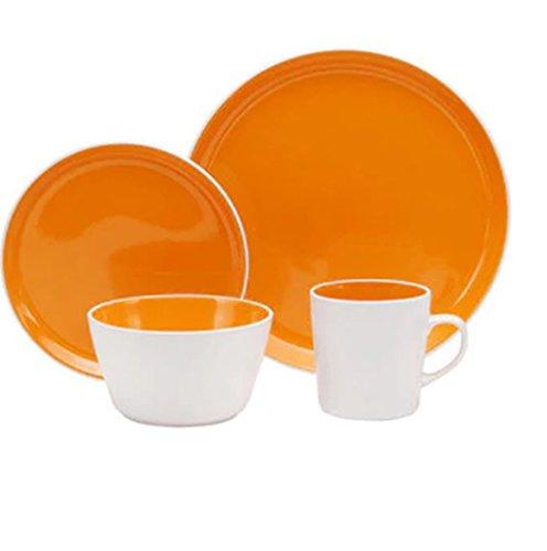 32-Part Set Oneida Chili Mango Colorburst Dinnerware, Stoneware, Microwave Safe, Dishwasher Safe, Orange, Round, Dinner Face: 10.5, Salad Plate: 7.75, Bowl: 5.5, Mug: 13 Ounces
