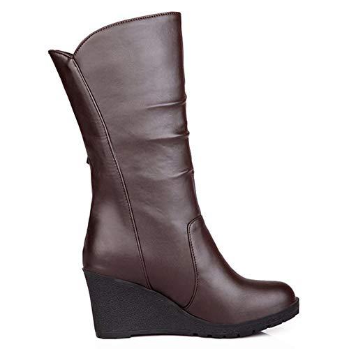 Boots Women Mid Calf Brown SJJH Wedge SAI6W6q