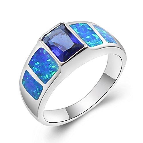 Sinlifu Created Blue Fire Opal Topaz Sapphire Silver Ring Women Jewelry