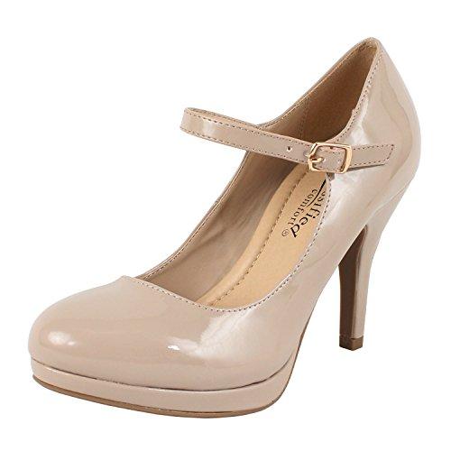 City Classified Women's Comfort Dennis Mary Jane High Heel Beige Patent 9