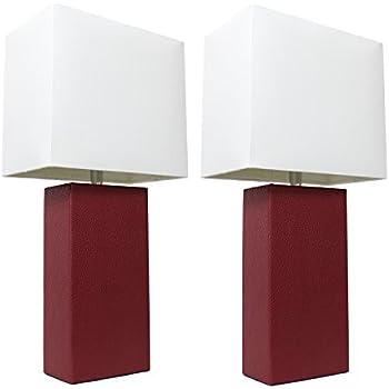 Amazon.com: Lámpara de mesa de cuero auténtico ...