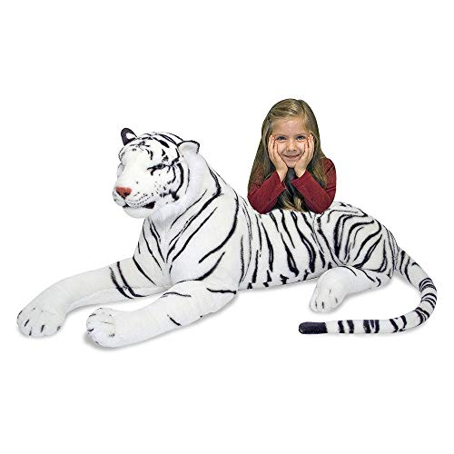 "Melissa & Doug White Tiger Giant Stuffed Animal (Wildlife, Soft Fabric, Beautiful Tiger Markings, 20"" H x 65"" L x 20"" W, Great Gift for Girls and Boys - Best for 3, 4, 5 Year Olds and Up)"