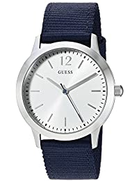 GUESS Men's Quartz Stainless Steel and Nylon Casual Watch, Color:Blue