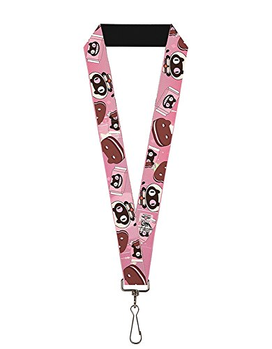 Buckle-Down Buckle-Down Lanyard - Steven Universe Accessory, -Cookie Cat Pose/Sandwich Black/Pinks/Browns/White, - Universe Snapback
