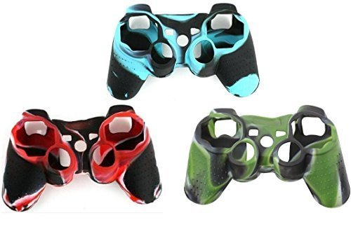 (CDH(TM) 3 pack Wear-resistant Black Silicon Protective Case Cover for Sony Playstation PS3 Remote Controller Camouflage)