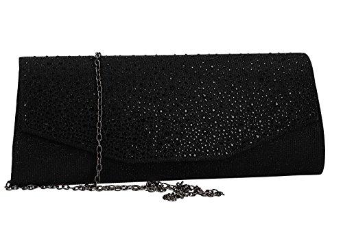 MICHELLE MOON Bolso de mano mujer elegante bolsa de ceremonia negro VN2354