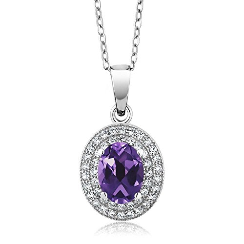 Gem Stone King 3.27 Ct Oval Amethyst 925 Sterling Silver Pendant with 18 inch Chain