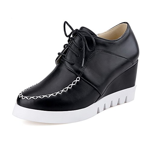 VogueZone009 Women's Lace up Pu Round Closed Toe High Heels Solid Pumps-Shoes Black muBV0g