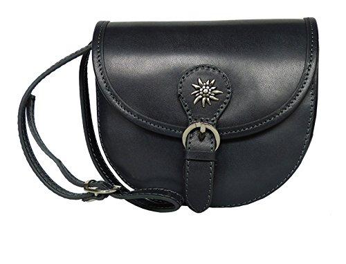 Elegante Echt Leder Trachtentasche mit Fleur des Lys oder Edelweiss fürs Dirndl - Rindsleder Edelweiss Dunkelgrau 5OLO0