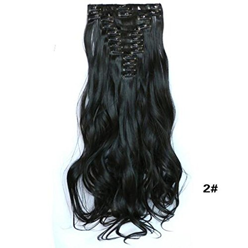 Dongcrystal Long Wavy Curly Hairpiece Full Head 10 Piece 22 Clips in Synthetic Hair Extensions Party Wig for (Cute Clown Costumes For Tweens)