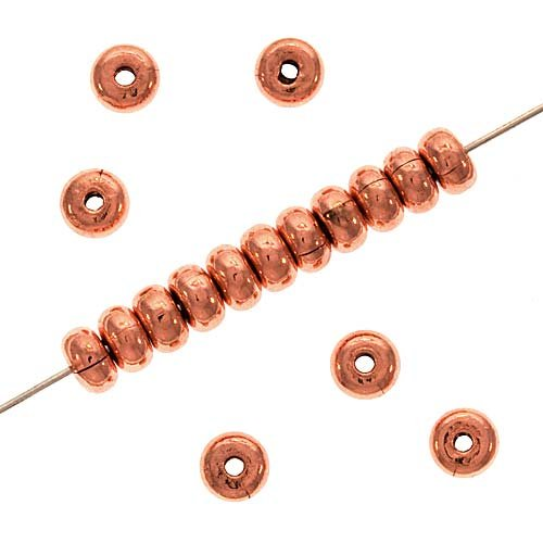 ThickHeisheSpacersBeads,4.5mmby2.5mm,CopperPlated (Plated Heishe Spacers)