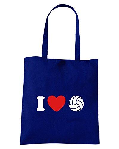 T-Shirtshock - Bolsa para la compra TLOVE0088 i love volleyball tshirt Azul Marino