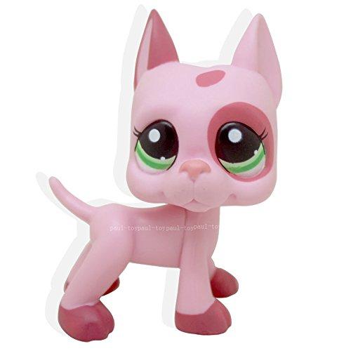 LHJ Littlest Pet Shop Great Dane Dog Puppy Strawberry Pink Green Eyes LPS #2598 (Teacup Llama)