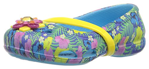 crocs Girls' Lina Graphic K Flat, Electric Blue, 7 M US Toddler
